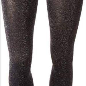 Hue Metallic opaque tights. Dark/silver Sparkle